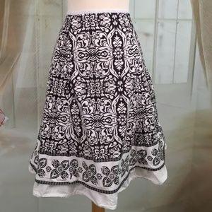 Sonoma Skirts - Sonoma Black and White A-line Cotton Skirt